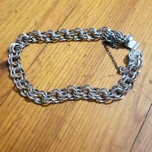 """Sterling Silver Charm Bracelet 7.5"""" New Vintage"""
